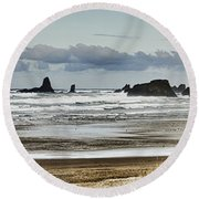 By The Sea - Seaside Oregon State  Round Beach Towel