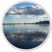 By The Sea In Maine Round Beach Towel