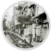 By The Tracks In Hanoi Round Beach Towel