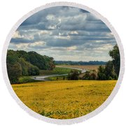 Bypass The Country Fields Round Beach Towel