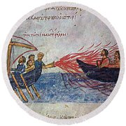 Byzantine Sailors  Round Beach Towel