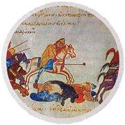 Byzantines Cavalrymen Pursuing The Rus Round Beach Towel