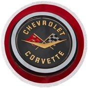 C1 Corvette Emblem Round Beach Towel