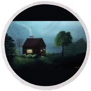 Cabin In The Moonlight Round Beach Towel