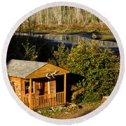 Cabin On The River Round Beach Towel