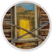Cabin Windows Round Beach Towel
