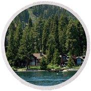Cabins On The Lake Tahoe Round Beach Towel