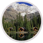 Cabins, Sargents Point, Lake Ohara Round Beach Towel