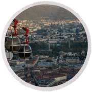 Cable Car In Grenoble  Round Beach Towel