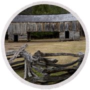 Cable Mill Barn In Cade's Cove No.122 Round Beach Towel