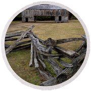 Cable Mill Barn In Cade's Cove No.123 Round Beach Towel