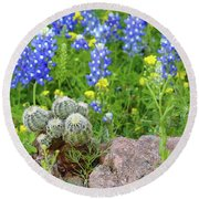 Cactus And Bluebonnets 2am-28694 Round Beach Towel