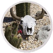 Cactus And Cow Skull Round Beach Towel