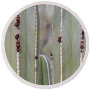 Cactus Buds Round Beach Towel