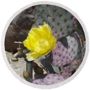 Cactus Flower 2 Round Beach Towel by Snake Jagger
