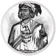 Caddo Chief, 1879 Round Beach Towel