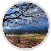 Cades Cove Lane Round Beach Towel