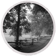 Cades Cove Tennessee In Black And White Round Beach Towel