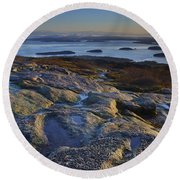 Cadillac Mountain And Frenchman's Bay Round Beach Towel