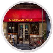 Cafe - Ny - Chelsea - Mappamondo  Round Beach Towel by Mike Savad