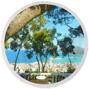 Cafe Terrace At Bohali Overlooking Zante Town Round Beach Towel
