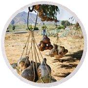 Calabash Gourd Bottles In Mexico Round Beach Towel by Elena Elisseeva