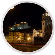 Calahorra Cathedral At Night Round Beach Towel