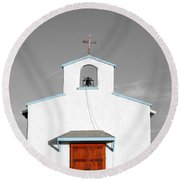 Calera Mission Chapel Facade In West Texas Color Splash Black And White Round Beach Towel
