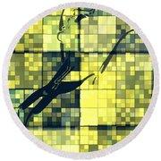 Caliente Geometric Yellow Round Beach Towel