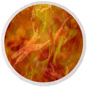 Caliente On Fire With Butterflies Round Beach Towel