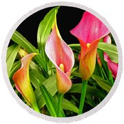 Calla Lillies Round Beach Towel