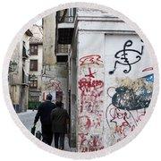Calle Alvaro De Bazan Graffiti Round Beach Towel