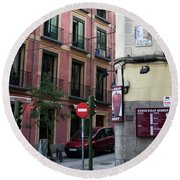 Calle De Vergara Madrid Round Beach Towel