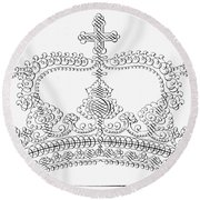 Calligraphy Crown Round Beach Towel