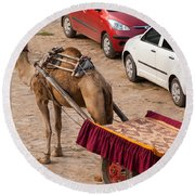 Camel Ready To Take Tourists For A Desert Safari Round Beach Towel