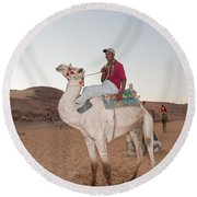 Camel Riders Round Beach Towel