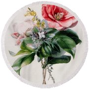 Camellia And Broom Round Beach Towel by Marie-Anne