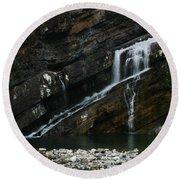 Cameron Falls Waterton Lakes National Park Round Beach Towel