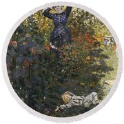 Camille And Jean In The Garden At Argenteuil  Round Beach Towel