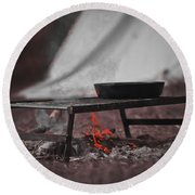 Camp Fire  Round Beach Towel