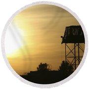 Camp Warhorse Guard Tower At Sunset Round Beach Towel