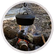 Campfire Cooking Round Beach Towel by David Lee Thompson