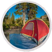 Camping In The Forest Round Beach Towel