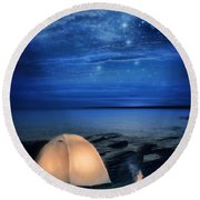 Camping Tent By The Lake At Night Round Beach Towel