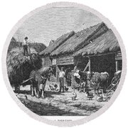 Canada: Farming, 1883 Round Beach Towel