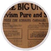 Canada: One Big Union, 1919 Round Beach Towel