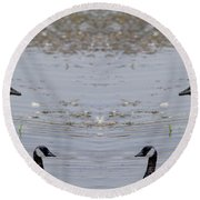 Canadian Goose Symmetry Round Beach Towel