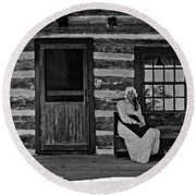 Canadian Gothic Monochrome Round Beach Towel