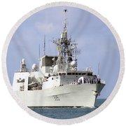 Canadian Navy Halifax-class Frigate Round Beach Towel