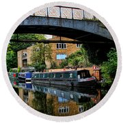 Canal Boats Round Beach Towel